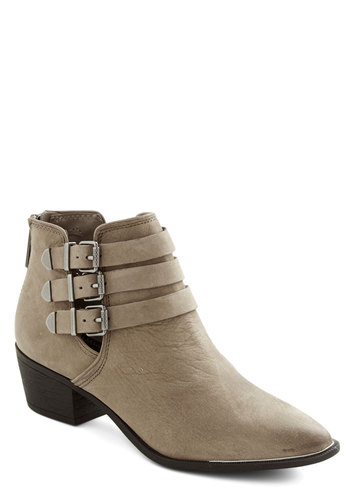 Because I'm Strappy Bootie - Mid, Leather, Grey, Solid, Buckles, Better, Urban