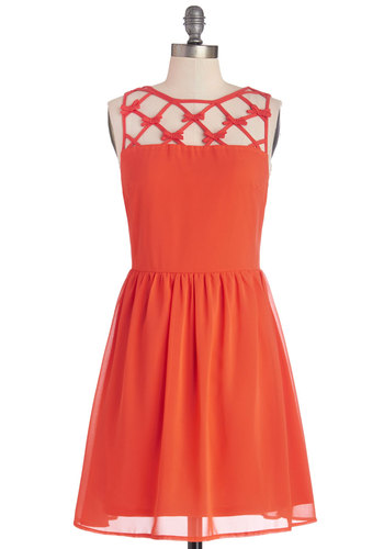Raise the Juice Bar Dress - Coral, Solid, Bows, Cutout, Party, A-line, Sleeveless, Better, Mid-length, Chiffon, Sheer, Woven, Press Placement