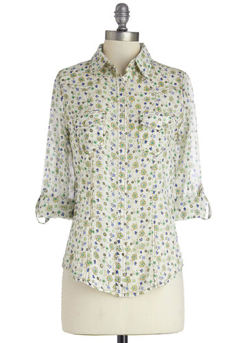Freshly Picked Flowers Top - Cotton, Woven, Mid-length, Floral, Buttons, Pockets, Casual, Long Sleeve, Spring, Good, Collared, White, Tab Sleeve, Multi, Green, Blue, White