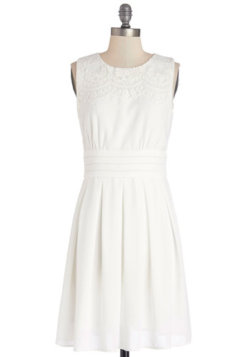 V.I.Pleased Dress in White - White, Solid, Pleats, Graduation, A-line, Sleeveless, Better, Embroidery, Daytime Party, Variation, Wedding, Bride, Mid-length