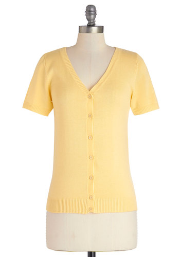Layer Your Look Cardigan in Yellow - Knit, Mid-length, Yellow, Solid, Buttons, Work, Daytime Party, Short Sleeves, Spring, Variation, V Neck, Exclusives, Casual, Yellow, Short Sleeve, Pastel