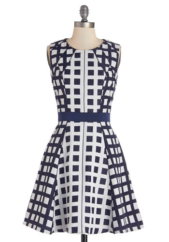 High Rise to the Occasion Dress - Blue, White, Print, Daytime Party, A-line, Sleeveless, Better, Scoop, Woven, Mid-length