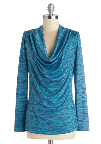 Errand of Excellence Top in Turquoise - Knit, Mid-length, Blue, Solid, Casual, Long Sleeve, Good, Variation, Cowl, Blue, Long Sleeve, Top Rated