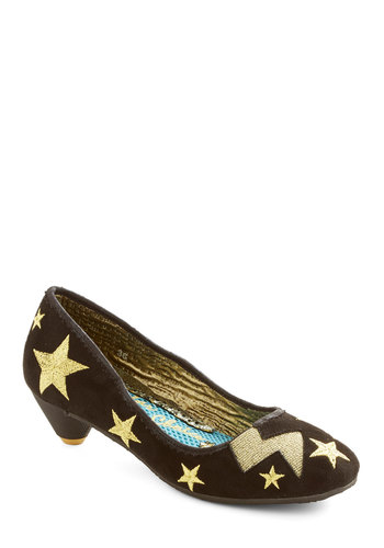 Star Gazing Gala Heel by Irregular Choice - Mid, Woven, Black, Gold, Party, Quirky, Sci-fi, Cosmic, Best, Novelty Print