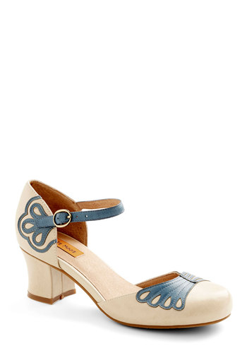 Fancy Fretwork Heel by Miz Mooz - Mid, Leather, Blue, Solid, Party, Best, Chunky heel, Cream, Daytime Party