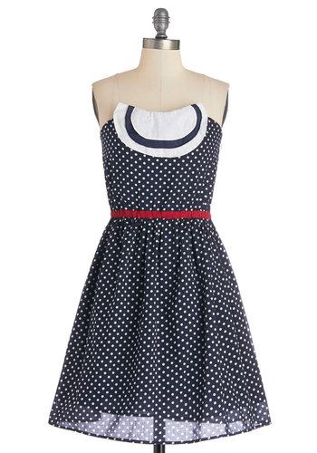 Date On Deck Dress - Blue, White, Polka Dots, Casual, A-line, Strapless, Better, Cotton, Mid-length, Woven, Red, Nautical, Americana