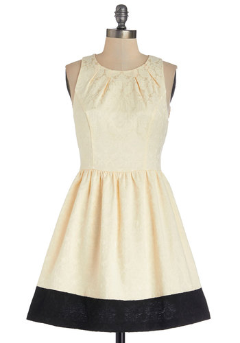 Jacquard to Get Dress - Cream, Black, Party, A-line, Sleeveless, Better, Scoop, Woven, Short, Exposed zipper, Fit & Flare, Top Rated
