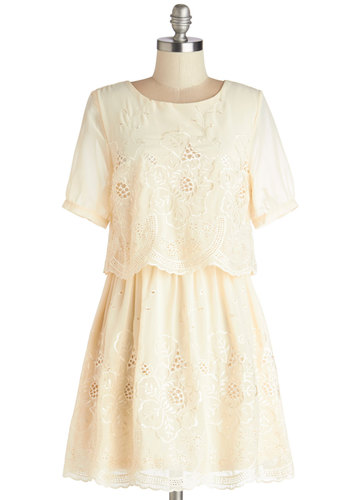Sunporch Solo Dress - Mid-length, Cream, Solid, Embroidery, Scallops, Daytime Party, Tent / Trapeze, Short Sleeves, Better, Scoop, Chiffon, Woven, Eyelet, Tiered