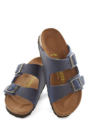 Strappy Camper Sandal in Navy - Narrow by Birkenstock - Flat, Leather, Blue, Solid, Buckles, Casual, Beach/Resort, Best, Boho, Variation, Festival, Summer, 90s, Spring
