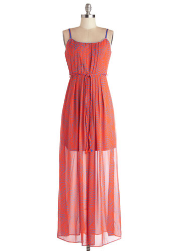 Optical Solution Dress - Long, Woven, Blue, Casual, Festival, Maxi, Spaghetti Straps, Better, Scoop, Orange, Print, Belted, Beach/Resort, Boho