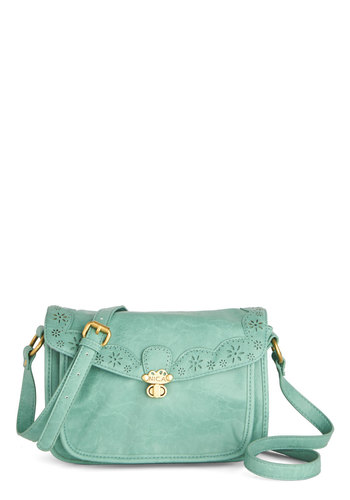 Make Persimmon of Yourself Bag in Mint by Nica - Mint, Solid, Cutout, Better, Faux Leather, Scallops, Spring, Boho