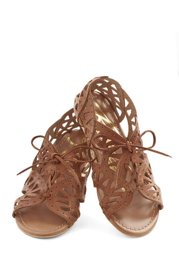 Tri as I May Sandal - Tan, Solid, Cutout, Boho, Flat, Better, Lace Up, Leather, Casual, Summer