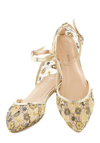 Tiptoe Through the Petals Flat - Flat, Woven, Gold, Silver, Floral, Embroidery, Wedding, Daytime Party, Good, Lace