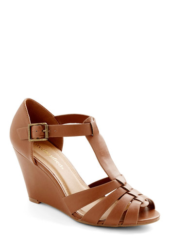 Album Release Wedge - Mid, Faux Leather, Tan, Solid, Daytime Party, Spring, Summer, Good, Wedge, T-Strap, Peep Toe