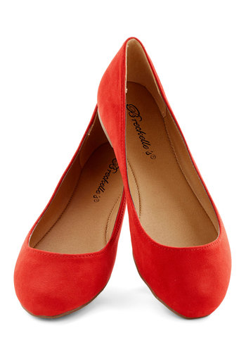 Pop, Skip, and a Jump Flat in Poppy - Flat, Faux Leather, Red, Solid, Valentine's, Minimal, Good