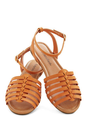 Whimsical Wanderlust Sandal - Flat, Faux Leather, Solid, Woven, Casual, Summer, Good, Slingback, Strappy, Brown, Festival, Boho