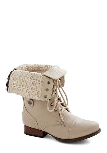 Munich of Time Boot - Low, Faux Leather, Cream, Solid, Military, Good, Lace Up, Crochet, Casual, Festival, Top Rated, Boho