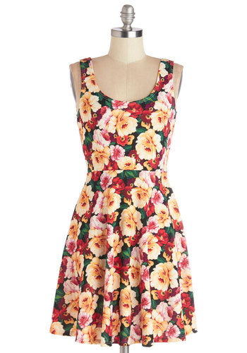 Green Thumb Goddess Dress - Knit, Mid-length, Multi, Floral, Casual, A-line, Tank top (2 thick straps), Good, Scoop, Spring, Summer, Sundress, Top Rated