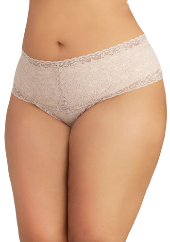 Hanky Panky Mellow Mornings Thong in Taupe - Plus Size by Hanky Panky - Sheer, Knit, Lace, Tan, Solid, Lace