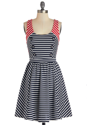 Port Story Dress - Nautical, Red, Blue, White, Stripes, Buttons, Cutout, Casual, A-line, Sleeveless, Better, Scoop, Knit, Multi, Mid-length