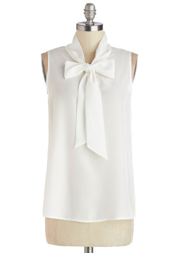 Business Trip Bliss Top in White - White, Sleeveless, Sheer, Chiffon, Woven, Solid, Tie Neck, Work, Daytime Party, Spring, Summer, Better, White, Sleeveless, Mid-length, Darling, Good