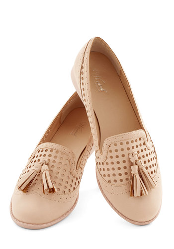 Over and Understated Flat - Low, Faux Leather, Pink, Solid, Tassels, Work, Casual, Good, Pastel
