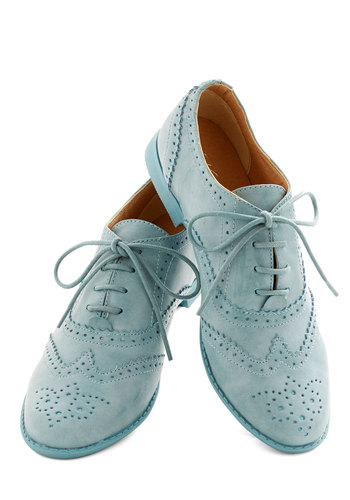 Blue Suave Shoes Flat - Low, Faux Leather, Blue, Solid, Work, Spring, Good, Lace Up, Menswear Inspired, Pastel