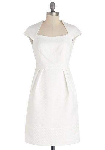 Limousine and Heard Dress - White, Woven, Solid, Special Occasion, Wedding, Bride, Shift, Cap Sleeves, Better, Exposed zipper, Mid-length