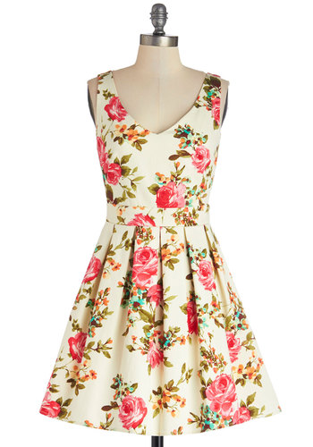 Bookmaking Brunch Dress - Multi, Floral, Pleats, Daytime Party, A-line, Sleeveless, Good, V Neck, Woven, Spring, Summer, Mid-length