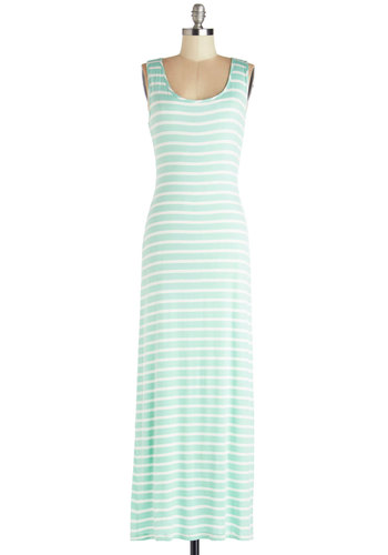 Chillin' Out Dress - Mint, White, Stripes, Casual, Maxi, Sleeveless, Scoop, Long, Cover-up, Pastel, Summer