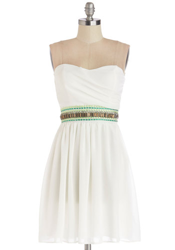 Candlelit Courtyard Dress - White, Green, Beads, Rhinestones, Daytime Party, A-line, Strapless, Good, Woven, Mid-length, Party, Sweetheart