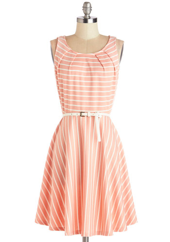 C'mon Fete Happy Dress in Rose - Pink, White, Stripes, Pleats, Belted, Casual, A-line, Sleeveless, Good, Scoop, Woven, Spring, Summer, Mid-length