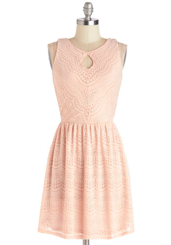 Save the Best for Lace Dress - Pink, Cutout, Casual, A-line, Sleeveless, Good, Short, Knit, Pastel