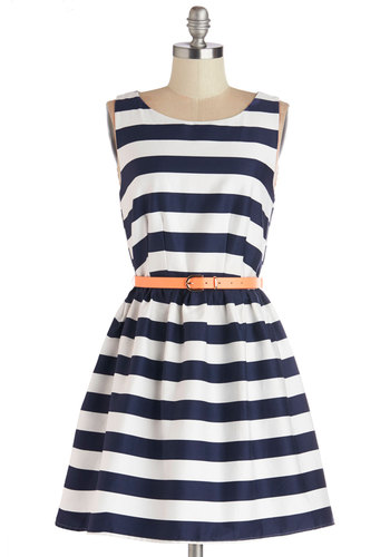 Looks Lake Love Dress - Woven, Blue, White, Stripes, Backless, Belted, Daytime Party, Nautical, A-line, Sleeveless, Good, Scoop, Cotton