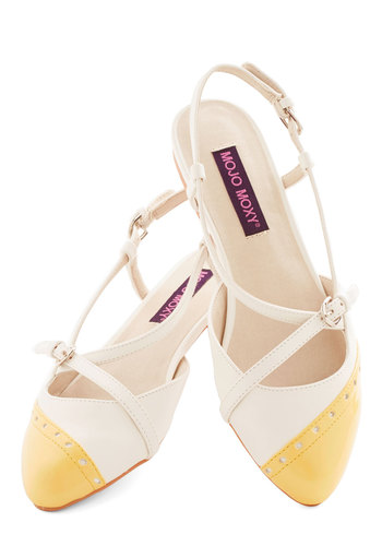 In on the Acting Flat in Buttercup - Flat, Faux Leather, Yellow, White, Solid, Buckles, Daytime Party, Spring, Good, Slingback, Strappy, Variation