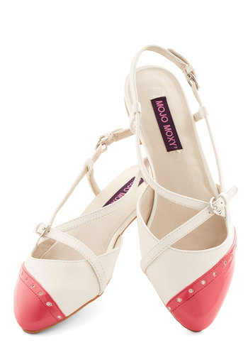 In on the Acting Flat in Rose - Flat, Faux Leather, Red, White, Solid, Daytime Party, Spring, Good, Slingback, Variation, Pink