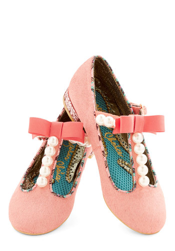 Pearl, You Know It's True Flat by Irregular Choice - Low, Leather, Pink, Solid, Bows, Pearls, Glitter, Wedding, Daytime Party, Valentine's, Statement, Darling, Best, T-Strap, Pastel