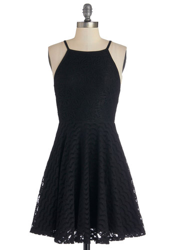 Local Talent Dress by Mink Pink - Black, Solid, Lace, Party, A-line, Spaghetti Straps, Better, Knit, Mid-length