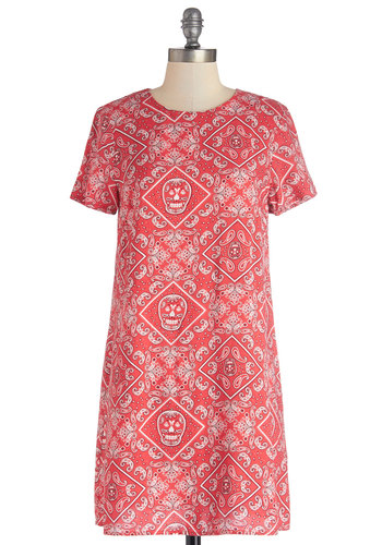 Hanky Very Much Tunic - Woven, Long, Red, Novelty Print, Skulls, Short Sleeves, Better, Red, Short Sleeve, Casual