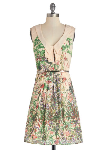 Heard It Through the Drape Vine Dress - Multi, Floral, Pleats, Belted, Daytime Party, Sleeveless, Good, Chiffon, Woven, Mid-length, Exposed zipper, A-line, V Neck, Spring