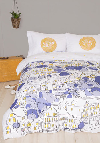Snoozin' in the City Duvet Cover in Full/Queen - Multi, Best, Novelty Print, Exclusives, Cotton, Woven, Dorm Decor