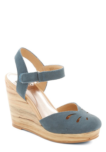 Woodwork it Out Wedge in Sea by BC Footwear - Blue, Cutout, Work, Daytime Party, High, Better, Platform, Wedge, Leather