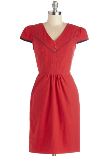 Cherry Pie Champ Dress - Nautical, Red, Blue, Buttons, Pockets, Trim, Casual, Shift, Cap Sleeves, Better, V Neck, Woven, Mid-length, Solid