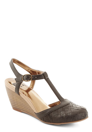 Weaving In and Out Wedge in Black by BC Footwear - Black, Woven, Work, Mid, Better, Wedge, Faux Leather, Solid