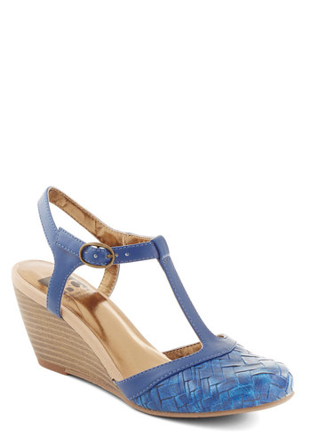 Weaving In and Out Wedge in Blue by BC Footwear - Blue, Woven, Work, Daytime Party, Boho, Mid, Better, Wedge, Faux Leather, Solid