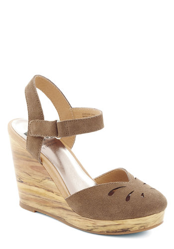 Woodwork it Out Wedge in Timber by BC Footwear - Tan, Solid, Cutout, Work, Daytime Party, High, Better, Platform, Wedge, Leather