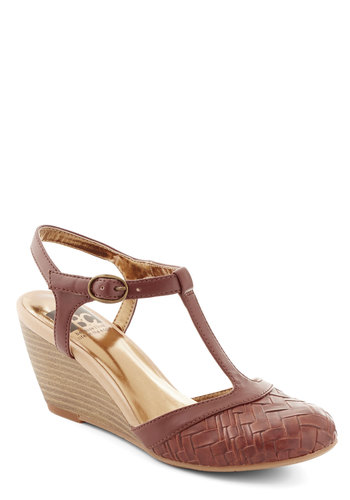 Weaving In and Out Wedge in Cognac by BC Footwear - Woven, Work, Daytime Party, Boho, Mid, Better, Wedge, Faux Leather, Brown, Solid