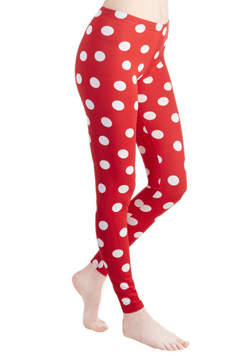 Depend on Dots Leggings - Skinny, Mid-Rise, Full length, Red, Non-Denim, Knit, Red, Polka Dots, Casual, 80s, 90s, White, Vintage Inspired, Spring, Summer, Good