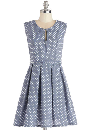 Picnic in the Pasture Dress by Mink Pink - Blue, White, Polka Dots, Pleats, Casual, A-line, Sleeveless, Better, Scoop, Mid-length, Woven, Americana, Sundress