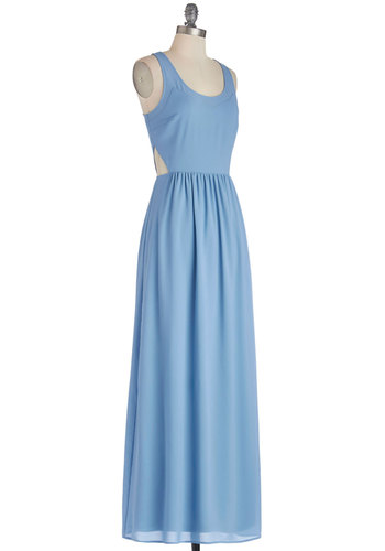 Confident Ease Dress - Blue, Solid, Cutout, Casual, Maxi, Sleeveless, Better, Woven, Long, Scoop